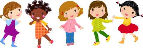 5 девушок немногая Стоковые Изображения RF