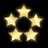 5 золотистых звезд Стоковое Изображение RF