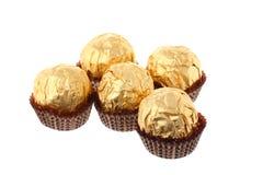 5 золотистых изолированных роскошных помадок белых Стоковое фото RF