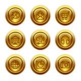 5 икон золота кнопки установили сеть Стоковое Изображение
