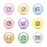 5 икон цвета шарика установили сеть Стоковое Изображение RF