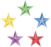 5 остроконечных звезд иллюстрация вектора