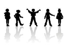 5 силуэтов детей Стоковая Фотография