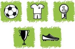5 символов футбола икон Стоковое Изображение