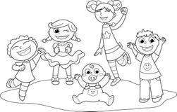 5 счастливых детей Стоковое Изображение