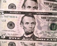 5 счетов закрывают положения доллара соединенные вверх по usd Стоковое фото RF