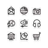 5 черных икон контура установили сеть Стоковая Фотография