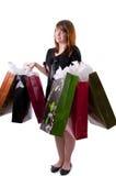 5 детенышей женщины мешков ходя по магазинам Стоковое Фото