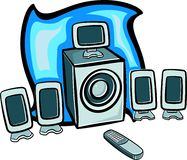 5.1 dolby digital speakers with remote control. Illustration royalty free illustration