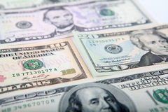 5, 10, 20, 100 banconote del dollaro Fotografie Stock