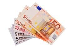 5, 10, 20, 50 cédulas do Euro Foto de Stock