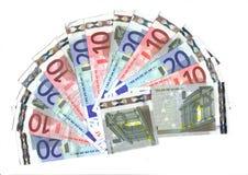 5, 10, euro waaier 20 Royalty-vrije Stock Afbeelding