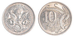 5+10 moedas dos centavos australianos Foto de Stock Royalty Free