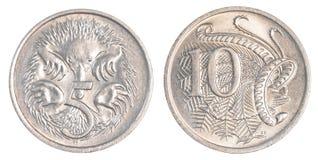 5+10 monedas de los centavos australianos Foto de archivo libre de regalías