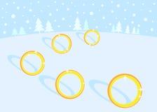 5 12 guld- cirklar för juldagar Royaltyfri Fotografi