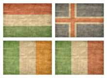 5/13 Flags of European countries. Vintage collection of european country flags isolated on white background. Hungary, Iceland, Ireland, Italy stock illustration