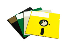 5.25 disks. Colorful 5.25 floppy disks isolated on white background stock images