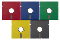 5.25 duim slappe diskettes in diverse kleuren Stock Fotografie
