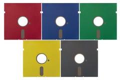 5.25 tum diskettdisketter i olika färger Arkivbild
