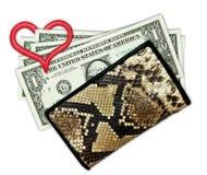 5 долларов в портмоне Стоковые Изображения