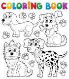 Тема 5 собаки книжка-раскраски Стоковые Фотографии RF