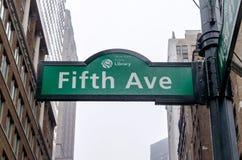 第5个大道标志,纽约 免版税图库摄影