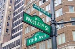 5-ые Знак бульвара, Нью-Йорк Стоковая Фотография RF