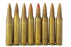 5.56 mm shells. 5.56 mm rifle shells - look in profile for more Royalty Free Stock Photos