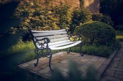 白色长凳在庭院5里 免版税库存图片