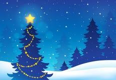 Тема 5 силуэта рождественской елки Стоковое Изображение RF