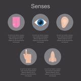 5 человеческих чувств на темной предпосылке с космосом для вашего текста Стоковое Изображение