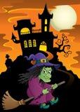 Ведьма на изображении 5 темы веника Стоковые Изображения RF