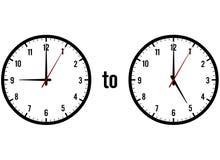 5 9 klockor som visar till Arkivbilder