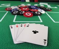 5 Aces? Cheater. Poker hand with 5 aces, 2 aces of spades Royalty Free Stock Image