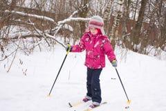 5 anos de esqui através dos campos da menina idosa Imagem de Stock