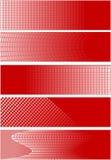 5 bandiere del quadrato rosso Immagini Stock