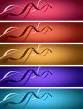 5 banners with ribbons over illuminated background Stock Photo