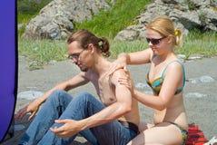 5 barn för strandmankvinna Fotografering för Bildbyråer