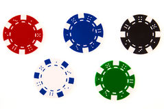 5 casino chips each different color Royalty Free Stock Images