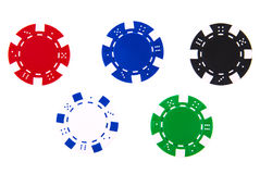 5 casino chips each different color isolated Royalty Free Stock Photo