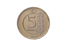 5 Cents. Five Turkish Lira Cents on White royalty free stock photos