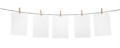 5 clean sheets on clothesline Stock Image