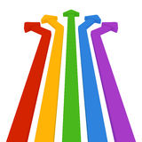 5 colored arrows. Colorful arrows. Straight red, yellow, green and blue and purple three-dimensional. Move towards five Royalty Free Stock Photos