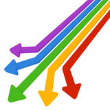 5 colored arrows. Colorful arrows. Straight red, yellow, green and blue and purple three-dimensional. Move towards five Royalty Free Stock Image