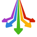 5 colored arrows. Colorful arrows. Straight red, yellow, green and blue and purple three-dimensional. Move towards five Stock Images