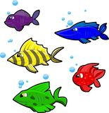 5 colorful cartoon fish on white background Royalty Free Stock Photography