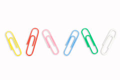 5 colorful paper clips Royalty Free Stock Image