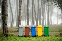 5 colori riciclano gli scomparti Fotografia Stock Libera da Diritti