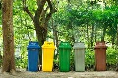 5 colori riciclano gli scomparti Fotografia Stock