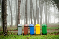 5 colors recycle bins Royalty Free Stock Photo